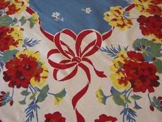 Vintage Tablecloth Fabulous and Gorgeous Geranium Bows 57x74 | eBay