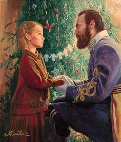 A Winterfair Gift: Father Frost answers a little girl's plea... the return of her soldier-father home from the war. This is a famous painting often re-produced for Winterfair greeting cards (Mort Kunstler, 1931, American)
