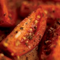Oven-Roasted Tomatoes.  A simple savory side dish uses fresh garlic, shallots, basil and thyme to flavor tasty tomatoes.