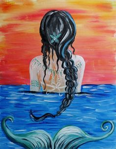 Black Braided Siren at Vertigo Cute Canvas Paintings, Small Canvas Art, Mini Canvas Art, Acrylic Painting Canvas, Diy Painting, Mermaid Wall Art, Mermaid Drawings, Mermaid Paintings, Anchor Painting