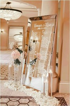 rose gold wedding decor elegant table plan on a golden mirror decorated with flo. - rose gold wedding decor elegant table plan on a golden mirror decorated with flowers jana williams - Mirror Seating Chart, Seating Charts, Perfect Wedding, Dream Wedding, Gold Wedding Decorations, Mirror Decorations, Elegant Party Decorations, Mirror Wedding Centerpieces, White Centerpiece