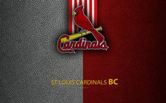 Download wallpapers St Louis Cardinals, 4K, American baseball club, leather texture, logo, MLB, St Louis, Missouri, USA, Major League Baseball, emblem, Central Division