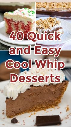Cool Whip Pies, Cool Whip Desserts, Fluff Desserts, Frozen Desserts, No Bake Desserts, Easy Desserts, Dessert Recipes, Cool Whip Frosting, Whipped Frosting