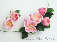 Set of earrings and pendants with Rose Apple Tree Flowers - Fito-Art.ru