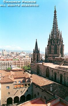 A wide angle view of Barcelona's gothic cathedral, Barcelona, Spain - Purchase a framed print of this photo or license the high-resolution image. Gothic Cathedral, Wide Angle, Barcelona Cathedral, Spain, Wanderlust, Explore, City, World, Building