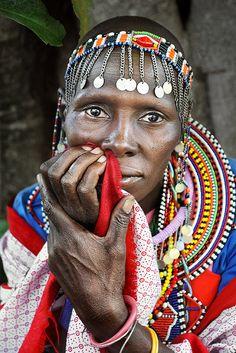 Africa | Masai Lady. Taken in the Masai Mara, Kenya | © David Lazar