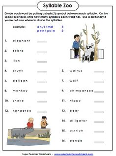 Syllable Zoo is a fun phonics worksheet in which students count the syllables in animal words.