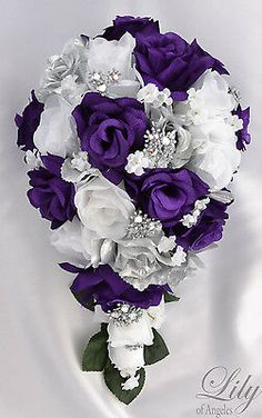 17 Piece Package Bridal Bouquet Wedding Bouquets Silk Flowers Source by presleystapp Purple And Silver Wedding, Purple Wedding Bouquets, Silk Flower Bouquets, Cascade Bouquet, Flower Bouquet Wedding, Silk Flowers, Wedding Colors, Bridal Bouquets, Bridesmaid Bouquets
