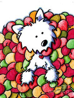 Westie In Apples Print by Kim Niles