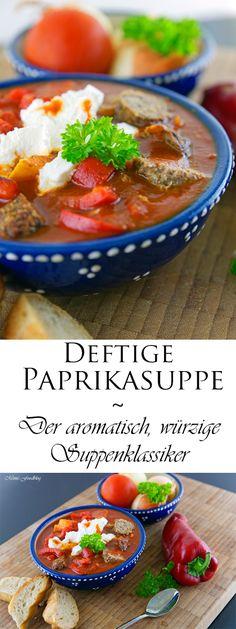 Deftige Paprikasuppe, das ist der aromatisch, würzige Suppenklassiker und darf in keiner Sommerküche fehlen. Mit frischen Paprika, Tomaten und Kräutern.