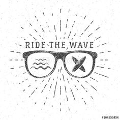 "Download the royalty-free vector ""Vintage Surfing Graphics and Poster for web design or print. Surfer glasses emblem, summer beach logo design. Surf Badge. Surfboard seal, element Summer boarding. Ride the wave vector hipster insignia"" designed by jeksonjs at the lowest price on Fotolia.com. Browse our cheap image bank online to find the perfect stock vector for your marketing projects!"