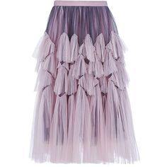 DRIES VAN NOTEN Tulle Midi Skirt ($1,170) ❤ liked on Polyvore featuring skirts, bottoms, dries van noten skirt, purple skirt, tulle midi skirt, rose skirt and mid calf skirts
