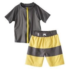 SwimZip Infant Toddler Boys Rashguard and Swim Trunk Set