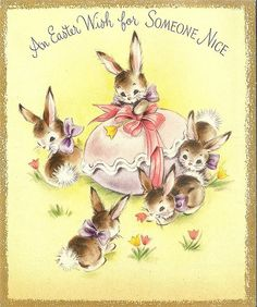 Inside of card reads: It's natural at Easter To think of things like Spring, Easter eggs and bunnies And all that sort of thing~~ And when it's time for Easter Of course, it's natural, too, To wish a lot of happiness For someone nice as you. Easter Art, Hoppy Easter, Easter Bunny, Vintage Easter, Vintage Holiday, Cute Baby Bunnies, Images Vintage, Hallmark Cards, Easter Parade