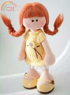 Patrón amigurumi gratis de muñequita parecida a Pipi Calzaslargas. Espero que os guste tanto como a mi! Idioma: Español Visto en la red y colgado en mi pag