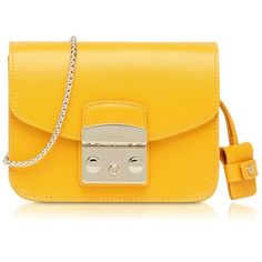 Furla Metropolis Giallo Leather Mini Crossbody Bag (33270 RSD) ❤ liked on Polyvore featuring bags, handbags, shoulder bags, leather purses, leather cross body purse, mini crossbody purse, yellow leather purse and leather shoulder bag
