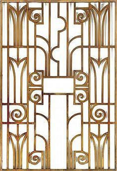 Art Deco bronze grill