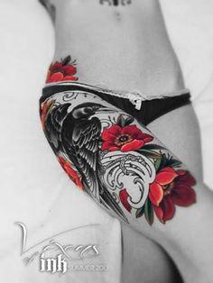 Beautiful raven tattoo