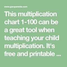 This multiplication chart can be a great tool when teaching your child multiplication. It's free and printable as a pdf. Use our helpful tips when teaching the times tables. Multiplication Chart, Times Tables, Teaching Kids, Helpful Hints, The 100, Printables, Children, Tips, Pdf