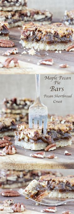 Maple Pecan Pie Bars with Pecan Shortbread Crust   Easier than pie! But just as delicious!
