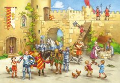 Praatplaat ridders en kastelen(1024×712) Mike The Knight, Castle Crafts, A Knight's Tale, Dragons, Medieval Party, Writing Pictures, Dragon Party, Château Fort, History Projects