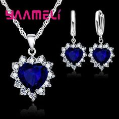 a3db3f9a8 YAAMELI Trendy 925 Sterling Silver Jewelry Set For Women Heart CZ Stone  Charm Pendants Necklaces Earrings LOVE Anniversary Gift