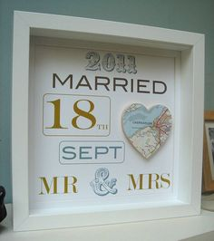 Personalised Mr And Mrs Map Picture Wedding Gift Bride Groom