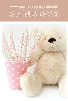 Canudos e copos de papel da Polka Dot #decoração #festas #artigos