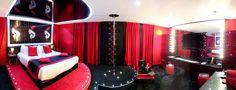 Suite Cabaret: Giant screen (Canal +) panel trivision Pole dance bar Armchair before the Pole Dance Bar Bed on Podium Mirror above the bed Porthole in the bathroom Clicks on picture & enter your dates. Paris Design, Paris Hotels, Pole Dancing, Cabaret, Dream Bedroom, Parisian, Boutique, Dates, Corset