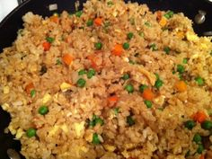 Panda Express Copycat Fried Rice... I added way more soy sauce. But otherwise, delicious!!!