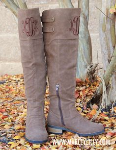 Sooo bummed they don't have my size!! Monogrammed Cognac Knee High Boot | Footwear | Marley Lilly