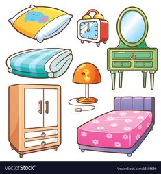 Vector illustration of Cartoon Bedroom element vocabulary English Tips, English Class, English Lessons, Teaching English, Ingles Kids, Body Preschool, Flashcards For Kids, Paper Doll House, Learn English Words