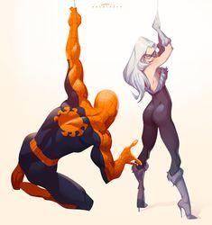 Art from the Spiderman universe Spiderman Black Cat, Spiderman Girl, Black Cat Marvel, Amazing Spiderman, Spiderman Anime, Marvel Comic Universe, Marvel Comics Art, Marvel Heroes, Marvel Characters