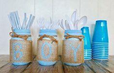 Baby Boy Mason Jar Decor, Baby Shower Decor, Baby Shower Centerpiece, Mason Jar Set of 3- Free Shipping by ReapingaHarvest on Etsy https://www.etsy.com/listing/492984378/baby-boy-mason-jar-decor-baby-shower