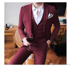 Solid Color slim fit male 3 piece suits wedding dress men Business Casual blazer Wedding Prom Dinner Suits Groomsman Wear tuxedo 3 Piece Suit Wedding, Wedding Dress Men, Tuxedo Wedding, Groomsmen Suits, Mens Suits, Casual Blazer, Casual Wear, Dinner Suit, Business Casual Men