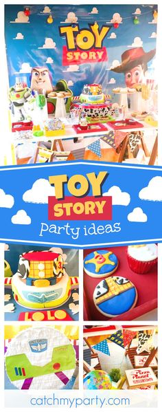 Check out this awesome Toy Story birthday party! The birthday cake is so cool! See more party ideas and share yours at CatchMyParty.com  #toystory #boybirthday #disney #woody #buzzlightyear