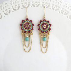 Beaded chandelier earrings Crystal chandelier by LioraBJewelry