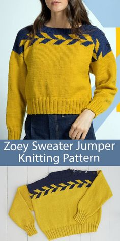 Sweater Knitting Pattern for Zoey Drop Shoulder Jumper - Cropped pullover sweater with minimal shaping and a chevron motif that's a perfect first colorwork project. Bust sizes To Fit Bust: 82-86cm to 112-117cm (32 inches to 46 inches). Worsted weight yarn. Designed by MillaMia.