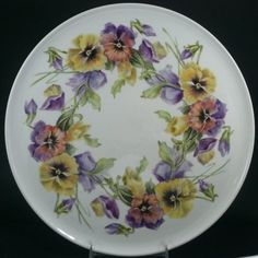 medium: overglaze mineral paints on porcelain, artist unknown Painted Plates, Hand Painted Ceramics, China Painting, Ceramic Painting, Tea Party Decorations, China Plates, Vintage Plates, China Porcelain, Pansies