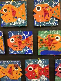 photo+(6).JPG 240×320 pixels Kindergarten Art Projects, Kindergarten Lessons, Art Lessons Elementary, Ocean Art, Fish Ocean, Animal Art Projects, First Grade Art, Rainbow Fish, Ecole Art