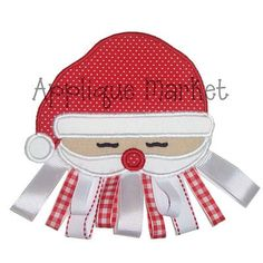 Machine Embroidery Design Applique Santa Face with Optional Ribbon Beard. $4.00, via Etsy.