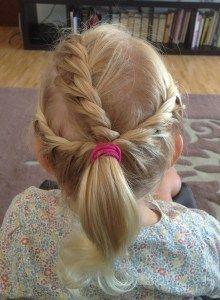 three twists into a ponytail