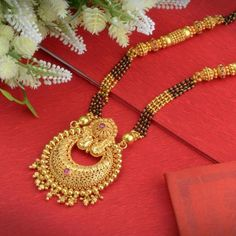Explore the trendy collection of Gold Mangalsutra design at Waman Hari Pethe Sons. Gold Bangles Design, Gold Earrings Designs, Gold Jewellery Design, Necklace Designs, Silver Jewellery, Jewlery, Silver Rings, Gold Haram Designs, Gold Mangalsutra Designs
