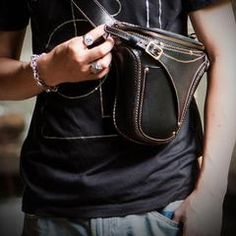 70c8f3f4289 Leather Belt Pouches Mens Small Cases Waist Bag Hip Pack Belt Bag for Men