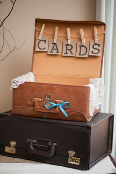 Rustic Wedding Decor #Wedding, but not the suitcases, something more rustic...