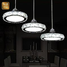 LED Restaurant Chandelier Modern Minimalist European Round Pendant Lamp Three Creative Head Table Lamp Crystal Restaurant Dining Stainless Steel Pendant Light, Round Pendant, Pendant Lamp, Pendant Lighting, Modern Chandelier, Modern Pendant Light, Restaurant Lighting, Led, Head Tables