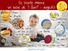 Bebelusii de 7 luni necesită o hrană solida care sa le umple stomacelul. Acesta este momentul in care copilul incepe sa isi dezvolte propria personalitate. Este, de asemenea, o varstă de tranziție in care au o anumita mobilitate si, prin urmare, o alimentație sanatoasă este foarte importantă in aceasta etapă. Iată ce poate mânca un bebeluș de 7 luni și sugestii de rețete gustoase. Baby Food Recipes, Baby Boy, Breakfast, Bb, Pregnancy, Recipes For Baby Food, Breakfast Cafe, Pregnancy Planning Resources, Baby Newborn