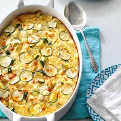 What's low in calories and packed full of nutritious protein? This Greek zucchini bake! Feta, zucchini, eggs and more pack this yummy casserole you can make for breakfast or a dinner side. Heck--it would make a great healthy meal all by itself. Vegetarian Casserole, Casserole Recipes, Vegetarian Recipes, Cooking Recipes, Zucchini Casserole, Vegetarian Breakfast, Vegetarian Dinners, Oven Recipes, Casserole Dishes