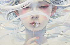 Artist Miho Hirano's oil paintings communicate a delicate beauty through the use of soft colors and fluid brushstrokes. Featuring ethereal woman and fragments of the natural world, each of Hirano's paintings emote a melancholic longing that beckons one into her character's striking fantasy-lands. Her paintings show a fairy-tale that has been infused with culturally significant elements and lingering, beautiful figures.