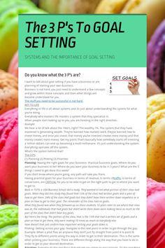 The 3 P's To GOAL SETTING